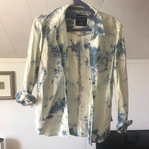 American Eagle Outfitters Tie Dye Denim Shirt